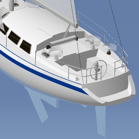 Vue du cockpit avec, en blanc transparent, les trajectoires des manivelles de winch et du palan d'écoute de grand-voile
